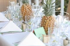 the pineapple theme carries onto the centerpieces
