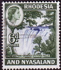 Postage Stamps Rhodesia and Nyasaland 1959 Queen Elizabeth II Victoria Falls Eastern Cataract SG 24 Fine Used Scott 164 For Sale