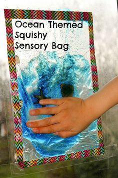 Bringing the ocean to life! Ocean sensory window made using a squishy gel sensory bag. It's so relaxing!