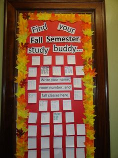 Find Your Fall Semester Study Buddy - ways to connect residents through their classes #RA #bulletinboards