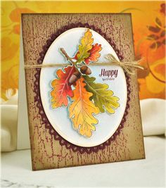 .autumn card. Love the brightly colored leaves. Paper Cards, Diy Cards, Cute Cards, Fall Birthday, Beautiful Handmade Cards, Unique Cards, Thanksgiving Cards, Fall Cards, Holiday Cards