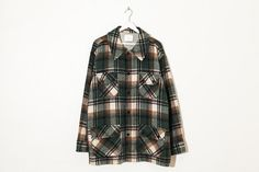 on sale green & brown oversized tartan jacket / by thevintagehigh