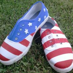 American Flag hand painted shoes