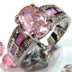 Size 6 7 8 9 10 Stunning Lab Pink Topaz and Fire Opal Ring | eBay