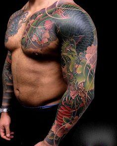 Japanese Dragon Sleeve Tattoo - Best Sleeve Tattoos For Men: Cool Full Sleeve Tattoo Ideas and Designs Dragon Tattoo Chest, Dragon Sleeve Tattoos, Arm Sleeve Tattoos, Tattoo Sleeve Designs, Tattoo Designs Men, Dragon Tattoos For Men, Half Sleeve Tattoos Mermaid, Unique Half Sleeve Tattoos, Full Arm Tattoos