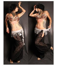 Tribal Belly Dance Harem Pants Off White Lace cut by CrudeThings