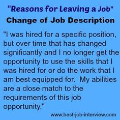 Good Reasons for Leaving a Job - Change of Job Description #reasonsforleaving Airport Jobs, Coupons, Hobbies, Coupon