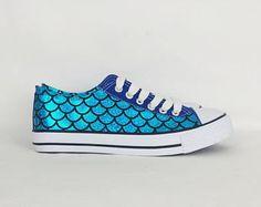 Sirena scarpe, scarpe personalizzate, scarpe donna, sirena-abbigliamento, scarpe personalizzate sirena, pompe stile di converse alternativa, personalizzato, regalo per lei