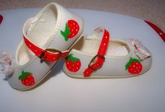 strawberries painted on baby slippers