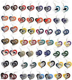 swirl heart earring dangle NFL PICK YOUR TEAM