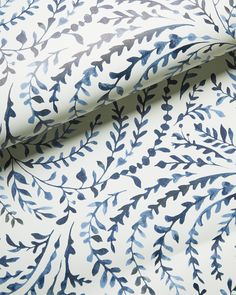 Here is a collection of some of my favorite beautiful blue and white wallpaper patterns! Help me choose which wallpaper we should install in our bedroom! Serena And Lily Wallpaper, Blue And White Wallpaper, Striped Wallpaper, Of Wallpaper, Pattern Wallpaper, Wallpaper Ideas, Bathroom Wallpaper Navy, Feather Wallpaper, Accent Wallpaper