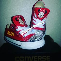 Minnie mouse custom Converse.    DESCRIPTION    These shoes come in red  Hi-tops or Lowtops and have Minnie Mouse on the tongue… bc1c51c73b3