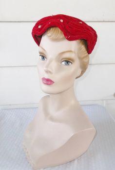 1950s Vintage Cherry Red Velvet Evening by MyVintageHatShop