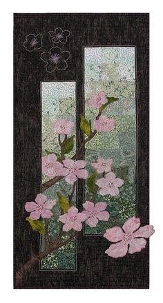 'Cherry Blossom Spring' - hand & machine applique, 3-D flower embellishment