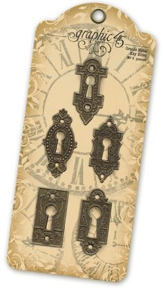 Ornate Metal Key Holes - new Graphic 45 Metal Staples! In stores early September #graphic45 #sneakpeeks