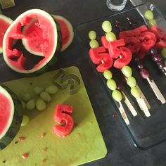 Kids birthday party idea. Watermelon and grapes cut to shape. Healthy snack option.