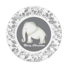 Silver Glitz white elephant Christmas party plate - winter gifts style special unique gift ideas