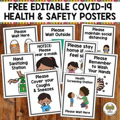 This free set of editable Health and Safety posters will make it easier for you to communicate health and safety procedures with your clients. Health And Safety Poster, Safety Posters, Beginning Of The School Year, First Day Of School, Back To School, Classroom Organization, Classroom Management, Learning Activities, Teaching Resources