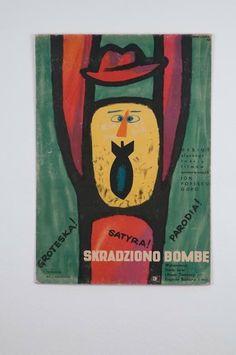 Polish Movie Poster by Eryk Lipinski, Stolen Bomb. Polish Movie Posters, Polish Films, Film Posters, Vintage Poster, Vintage Art, Vintage Graphic Design, Graphic Art, Illustrations, Illustration Art