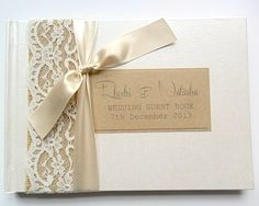 Hessian/Burlap Lace, Rustic Wedding Guest Book - - can make something similar for table numbers Rustic Wedding Guest Book, Bridal Shower Rustic, Wedding Album, Wedding Book, Wedding Stationery, Wedding Invitations, Burlap Lace, Lace Weddings, Invitation Design