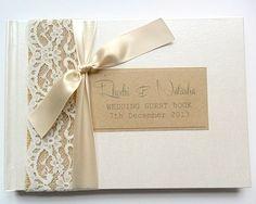 Hessian/Burlap & Lace, Rustic Wedding Guest Book - £26.50