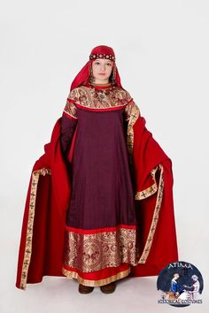 Medieval Rus XII-XIII Suzdal- Vladimir -silk naviershnik, with brocade hems, and pearls, -silk dress with silk hems, silk tablet -weaving, and gold buttons -silk veil and kerchief -silk head band with gold temple rings, and studs, -woolen korzno, with silk, hand printed hems