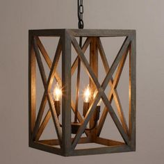 Gray Wood and Iron Chandelier