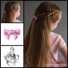 Tie back hairstyle, two five strand dutch braids and two fishtail braids with a cute bow