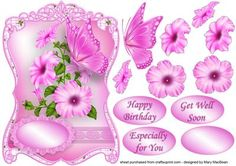 Pink Petunias and Butterfly Fancy Shaped Topper