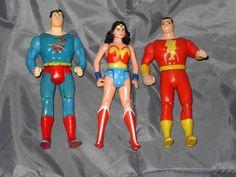 VINTAGE DC COMICS ACTION FIGURE LOT 1986 SUPERMAN SHAZAM 1984 WONDER WOMAN KENNER #FreeShipping