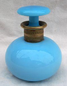 Gilt Bronze French Blue Opaline Perfume Bottle Glass Napoleonic 1820