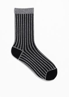 & Other Stories Shiny Rib Socks in Black Striped