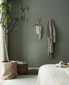 Sage Green Paint Colors That Bring Peace And Calm Your Home - Modern Bedroom Green, Green Rooms, Bedroom Colors, Home Bedroom, Home Living Room, Living Room Decor, Bedroom Decor, Sage Green Paint, Green Paint Colors