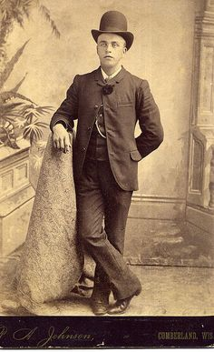 A man of the 1880s in a sack suit and bowler hat. | Flickr - Photo Sharing!