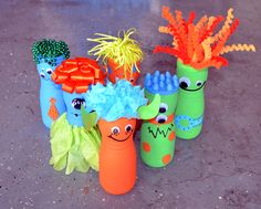 Monster bowling - Made from Gerber's puffs canisters! #monster #birthday