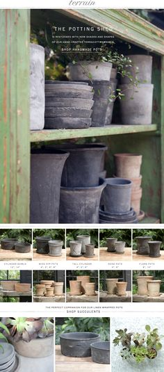The potting shed is restocked with new shades and shapes of our hand-crafted terracotta vessels at Terrain.