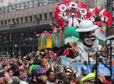 Crowds cheer as a float in the Krewe of Zulu Parade rolls down the street during Fat Tuesday Mardi Gras celebrations in New Orleans, La., on Tuesday. Fat Tuesday is the final day of Mardi Gras celebrations in New Orleans before Ash Wednesday.