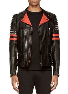 Men's jackets are a crucial part of each and every man's set of clothes. Men need to have outdoor jackets for a number of activities and several weather conditions. Men's Jacket Style. Leather Fashion, Leather Men, Mens Fashion, Red Leather, Studded Leather, Winter Leather Jackets, Stylish Jackets, Casual Jackets, Men's Jackets