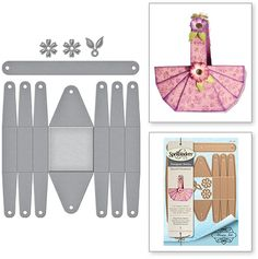 Shapeabilities Floral Picnic Basket Special Occasions by Marisa Job Etched Dies Easter Crafts, Holiday Crafts, Diy And Crafts, Crafts For Kids, Paper Purse, Cardboard Sculpture, Origami Envelope, Diy Ostern, Cardboard Crafts