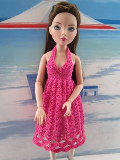 https://flic.kr/p/cp3mt9 | Hot Pink | Fleur in a hot pink halter neck sundress.  Fleur refused to be parted from her blue shoes even though they don't really go! Part of the Pretty in Pink Sundress Collection