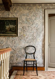 ✣ French Country Farmhouse ✣ upstairs hallway...love to paint a wall like this!