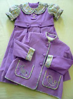 Paisley Birds Jacket and Matching Dress  Purple by GailDoane