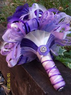 Wrapped #Purple #bouquet ... #purple #wedding … Wedding #ideas for brides, grooms, parents & planners https://itunes.apple.com/us/app/the-gold-wedding-planner/id498112599?ls=1=8 … plus how to organise an entire wedding, within ANY budget ♥ The Gold Wedding Planner iPhone #App ♥ For more inspiration http://pinterest.com/groomsandbrides/boards/ #fuchsia #plum #indigo