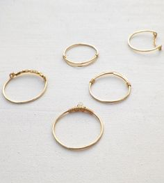 Wrapped Gold Stacking Rings - Set of 5