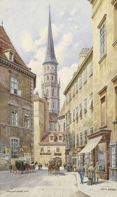 classic_art_ru: Старая Вена. Medieval Life, Great Paintings, Austria, Wander, Paris Skyline, Past, Street View, Community, Horses
