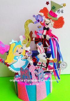 Alice+in+Wonderland+Birthday+cake+topper+centerpiece