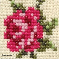 Tunisian Crochet Cross Stitch on Tunisian simple stitch crochet in mitten pattern by Jolanta Gustafsson. Funny Cross Stitch Patterns, Cross Stitch Borders, Cross Stitch Rose, Simple Cross Stitch, Cross Stitch Embroidery, Cross Stitches, Tunisian Crochet Stitches, Crochet Stitches Patterns, Embroidery Flowers Pattern