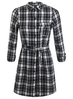 Petites Check Shirt Dress