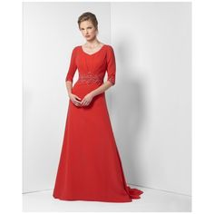 4248bd9357c2 Formal Evening Gowns Dresses Red For Women Half Sleeve V Neck Zipper Back  Floor Length High Quality 2017 Beautiful-in Evening Dresses from Weddings &  Events ...