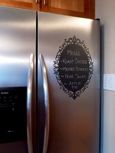 Chalkboard Vinyl Wall Decal – Great for the kitchen, office or anywhere in your home. Chalkboard Vinyl Wall Decal – Great for the kitchen, office or anywhere in… Chalkboard Vinyl, Chalkboard Ideas, Chalkboard Fridge, Do It Yourself Home, Silhouette Projects, Silhouette Cameo, My New Room, Vinyl Wall Decals, Wall Stickers